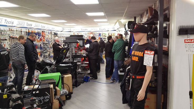 Some customers looking at our Draper tools section and grabbing some bargains during the opening of Craigmore's new Superstore