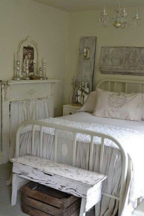 sweet white on white shabby chic vintage bedroom iron bed frame - Vintage Bed Frame