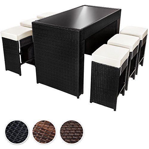 tectake luxury rattan aluminium 6 seater bar set with 6 bar stools exchanging upholstery protection slipcover stainless steel screws different