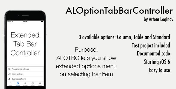 ALOptionTabBarController (Swift/Obj-C) . Swift version available!What is it?ALOptionTabBarController is an easy-to-use custom interface element. At freelance project I have been working on modified UITabBarController for providing more options on selecting any UITabBarItem. This version is extended. ALOptionTabBarController is a subclass