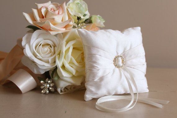 a beautiful silk ring bearer pillow with diamante and it fits in the best man's suit pocket safe and sound. Silk Petite Pocket Wedding Ring Pillow White with by SimpleEmpire, $15.00