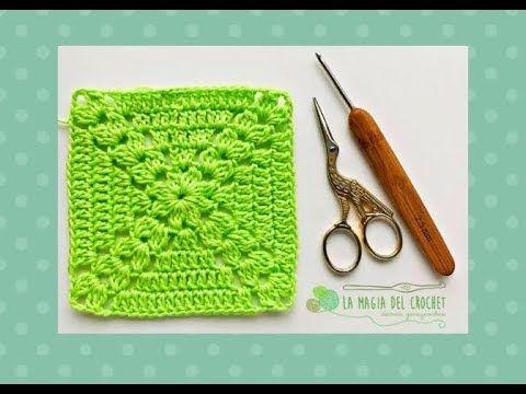 GRANNY SQUARE o cuadrado de la  abuelita a crochet - La Magia del Crochet- - YouTube