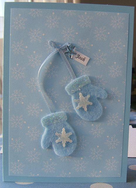 Handmade Christmas card - little felt mitts.  Cute.