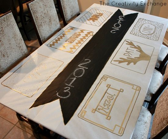 Draw Placemats on Butcher Paper for Festive Tablecloth {The Creativity Exchange}
