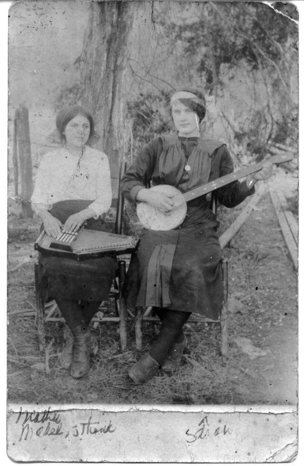 c1919….Sara Carter (banjo) and her cousin Maybelle (auto harp), about eight…