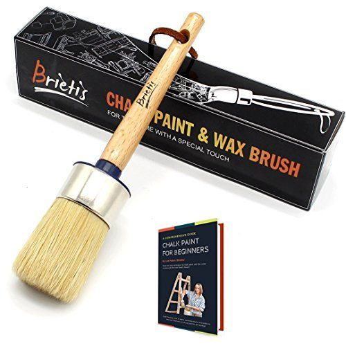 Stencils Clear Chalked Paint Brushes Smooth Coverage for Furniture Painting Milk Paint Brushes Natural Boar bristles Large Round Brushes Brietis Premium Chalk Brush