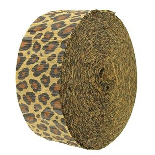 """Add color, excitement, and fun to your next bash with this Leopard Crepe Streamer Value Roll! With a chic and stylish animal print, this flame and bleed-resistant crepe streamer is perfect for decorating birthday parties, anniversary events, and plenty of other celebrations. Use coordinating solid colors to truly impress your guests!        Dimensions:      Roll Length: 142'    Width: 1 7/8"""""""