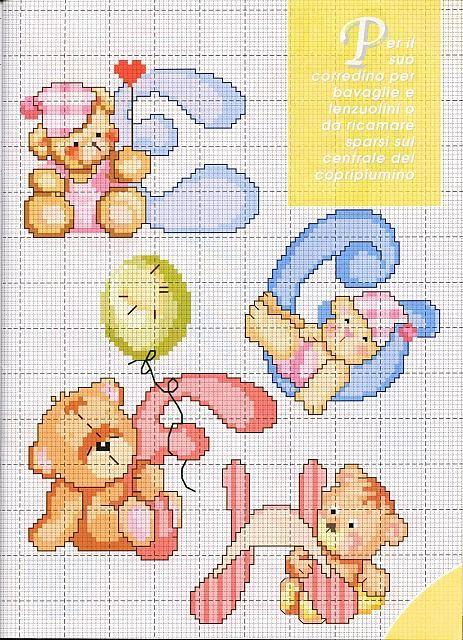 lo spazio di lilla: Alfabeto a punto croce con gli orsetti, schemi / Cross stitch alphabet with teddy bears, free patterns
