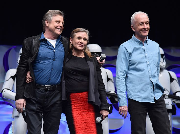 ANAHEIM, CA - APRIL 16:  (L-R) Actors Mark Hamill, Carrie Fisher and Anthony Daniels speak onstage during Star Wars Celebration 2015 on April 16, 2015 in Anaheim, California.  (Photo by Alberto E. Rodriguez/Getty Images for Disney) via @AOL_Lifestyle Read more: https://www.aol.com/article/entertainment/2018/03/08/star-wars-icon-mark-hamill-receives-hollywood-walk-of-fame-star-alongside-harrison-ford-george-lucas-and-r2d2/23380932/?a_dgi=aolshare_pinterest#fullscreen