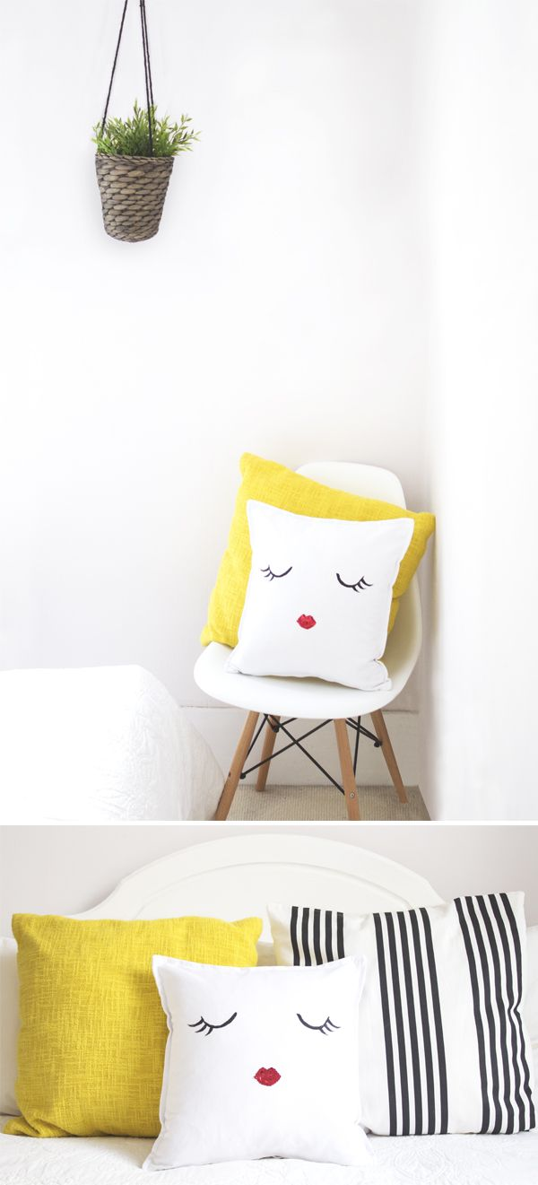 "Make an adorable ""Little Madam"" statement cushion with a step by step tutorial by The Lovely Drawer. Couldn't be much simpler to make and yet has buckets of impact!"