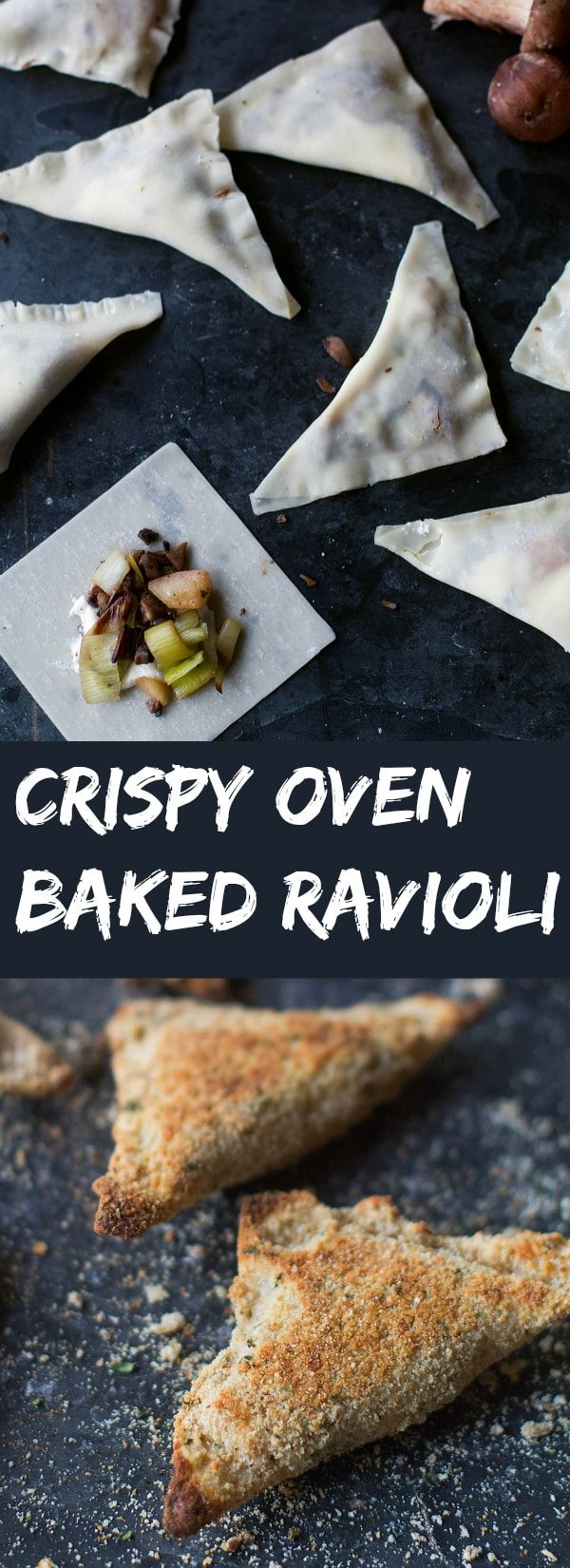 Oven Toasted Ravioli with Caramelized Mushrooms, Apples and Leeks - Young, Broke and Hungry