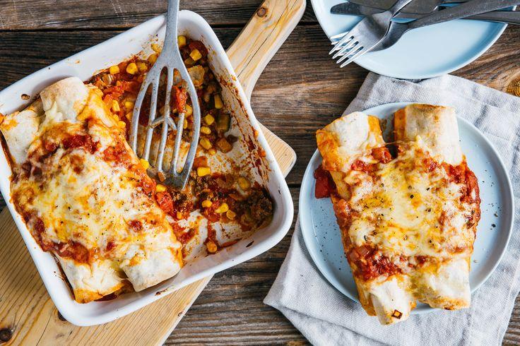 Photo for the dish: Enchilada's met rundergehakt en tomatensaus