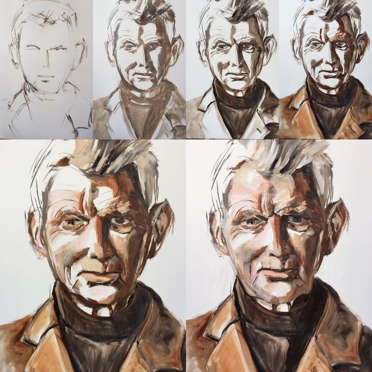 Portret painting, Esther Eggink, Samual Beckett