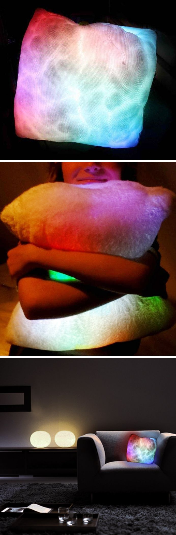 Moon Light Pillow // creates a trippy ambience from the internal light source that gently shimmers between various colors!