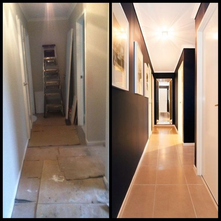 Before and after hallway painted black with crisp white artwork, architraves doors and skirts
