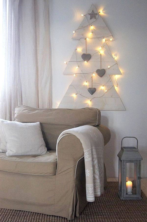 Simple wall Christmas tree to hang using tongue & groove wood panelling.