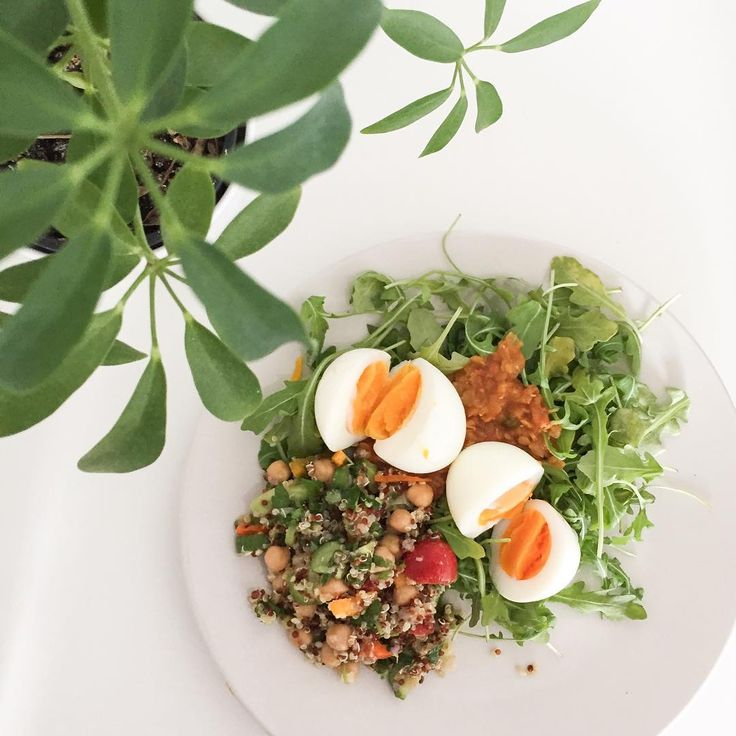 Protein packed breakfast. Soft boiled eggs, over arugula and some leftover lentil curry with a side of quinoa herbed salad.   Try to get in protein and some good quality fats in your breakfast. This will help you stay full longer and also help with your mental function in morning;)  What you eating?