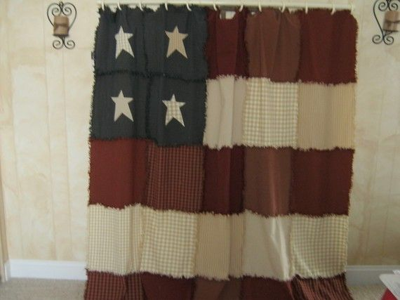 Americana Raggy Shower Curtain By Kbardo On Etsy, $75.00