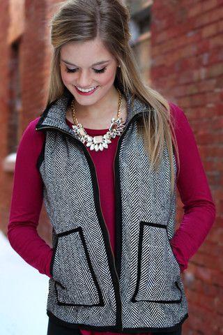 Must-Have Herringbone Vest | UOIOnline.com: Women's Clothing Boutique