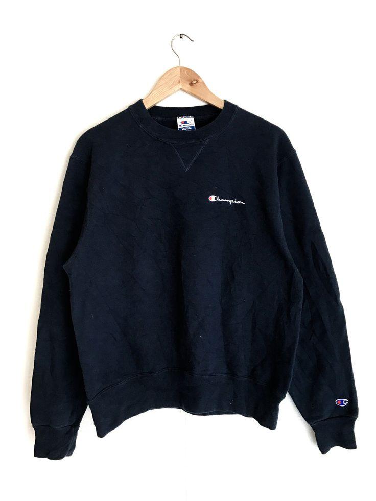 Sale Rare !! Vintage Champion Small logo designs sweatshirts 90's streetwear fashion style crewneck Lolife Dark Blue color by Psychovault on Etsy