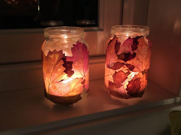 Lyslykter laget av barnematglass, decopage og høstblader.