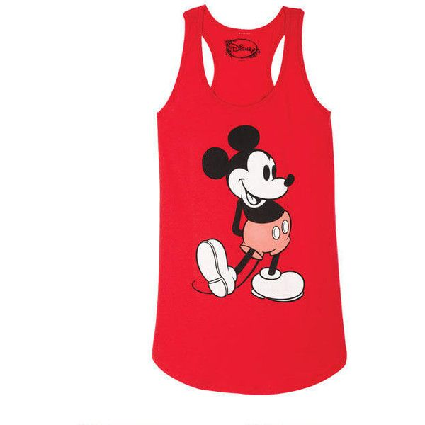 Mickey Red Tank (332.220 IDR) ❤ liked on Polyvore featuring tops, tanks, shirts, debardeur, t-shirts, red tank top, red singlet, red top, red shirt and red tank