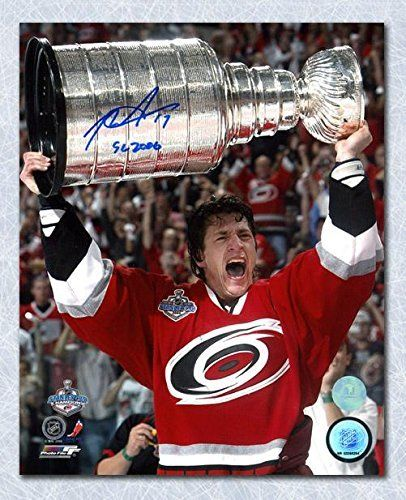 #fishingshopnow Rod Brind'Amour Carolina Hurricanes Autographed 2006 Stanley Cup 8x10 Photo - Autographed NHL Photos