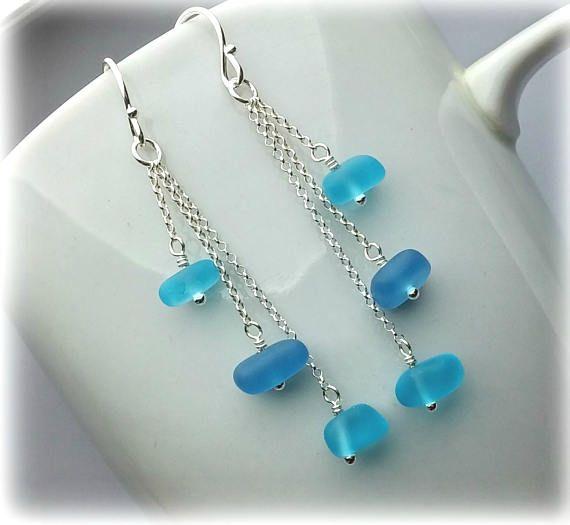 Sterling Silver Dangle Earrings Sea Glass Earrings Beach