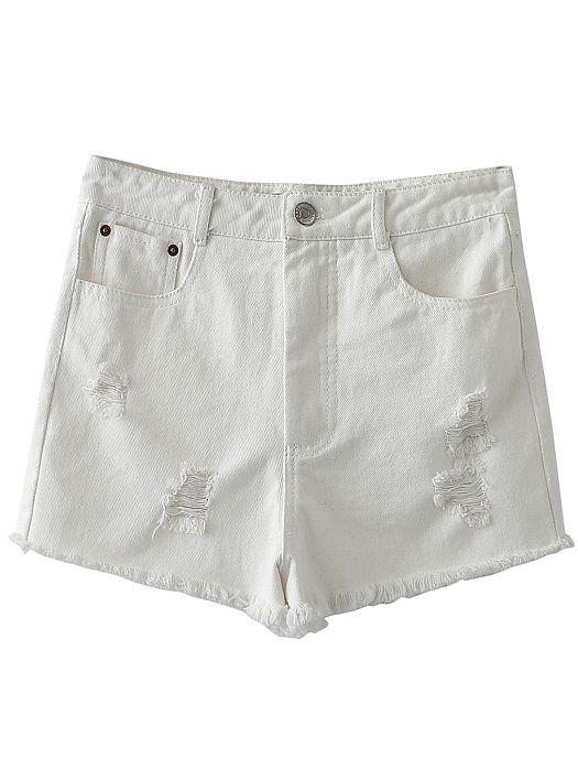 Белые рваные джинсовые шорты