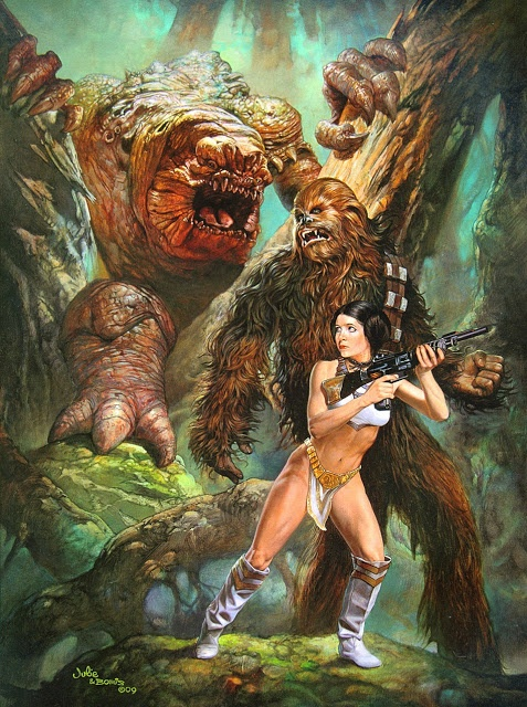 Chewbacca and Princess Leia vs. a Rancor by Boris Vallejo & Julie Bell