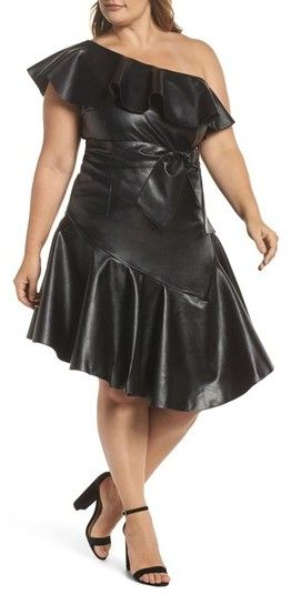 #PlusSize Women's #LostInk Ruffle #OneShoulder Skater #Dress #partydress #newyeareveoutfit