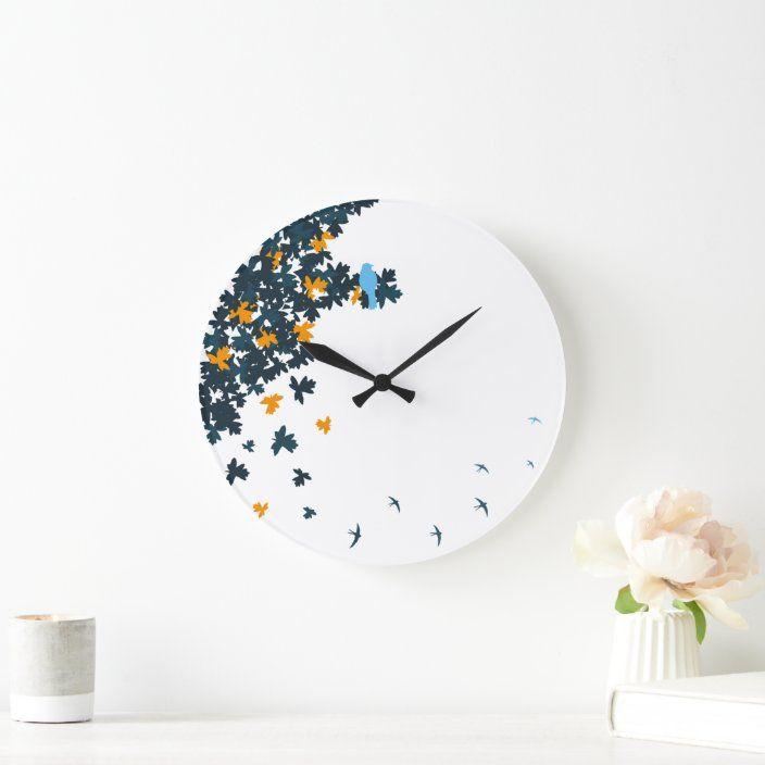 Blue Birds Clock Zazzle Com Clock Blue Bird Wall Clock