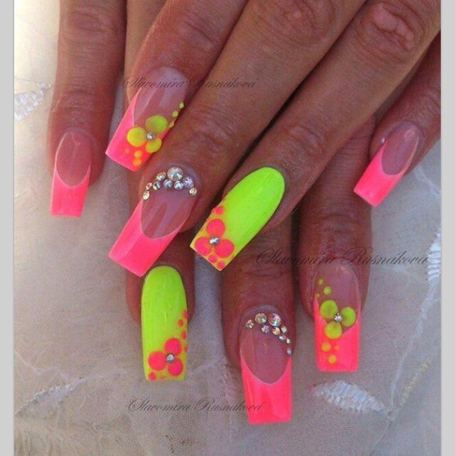 Oh hot neon colors @ nails design - 40 Best Neon Pink!!!! Images On Pinterest Neon Pink Nails, Nail