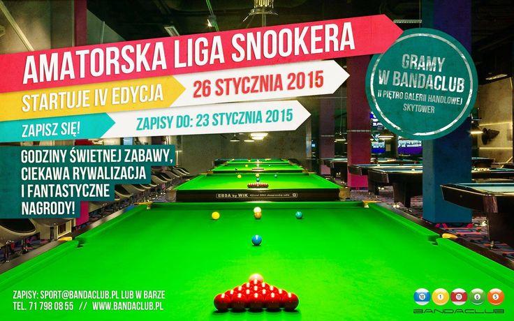 Amatorska Liga Snookera w Bandaclub  Ruszamy 26 stycznia 2015, zapisy do 23 stycznia 2015. Serdecznie zapraszamy.