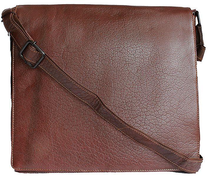 """Kenneth Brown Large Men's Brown Leather Messenger Bag"""" width="""