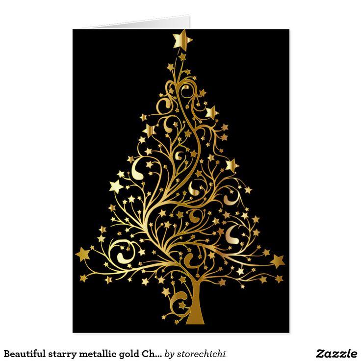 Beautiful starry metallic gold Christmas tree