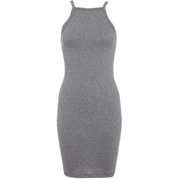 Miss Selfridge Salt and Pepper 90s Dress ($18) ❤ liked on Polyvore featuring dresses, vestidos, short dresses, casual dresses, mid grey, gray dress, grey mini dress, miss selfridge, grey dress and mini dress