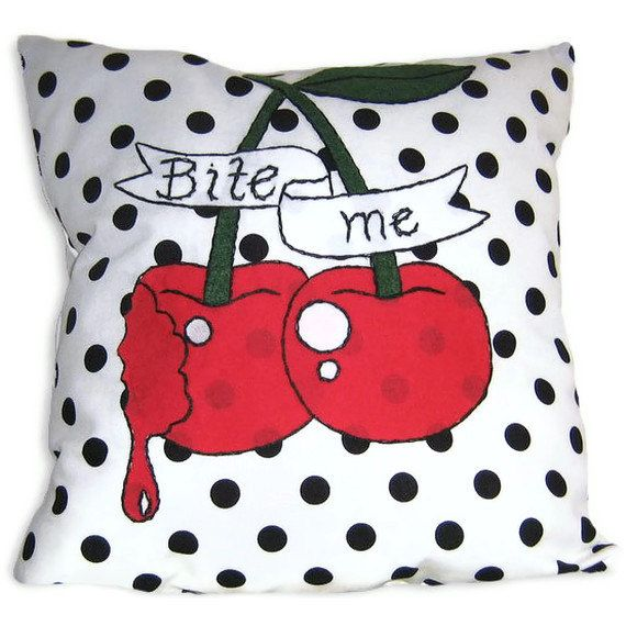 Applique Throw Pillow with Rockabilly Style Cherry by Dollydripp, £28.00