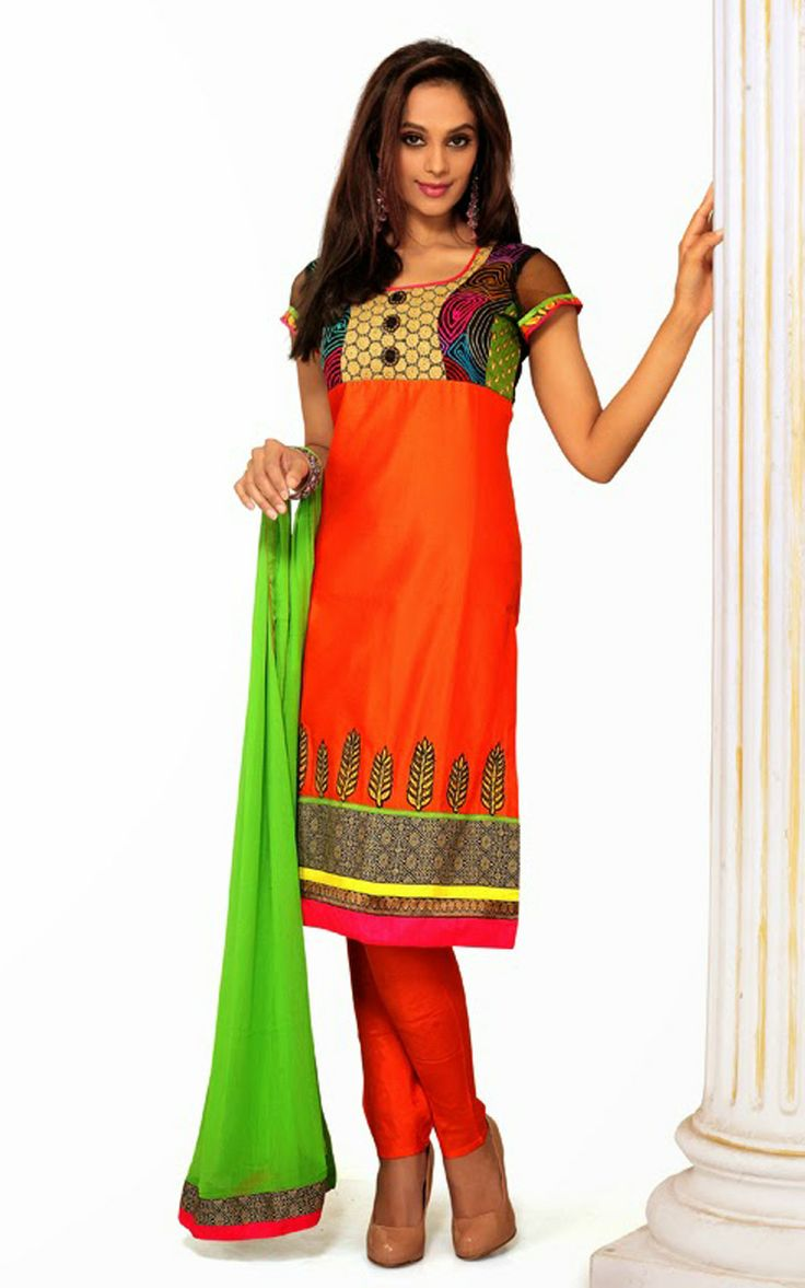 DEEP ORANGE CHANDERI COTTON SALWAR KAMEEZ - DIF 29716