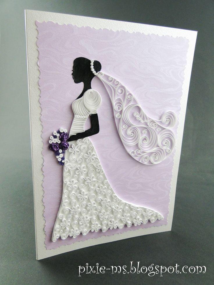 quilled bride on a card / quilling menyasszonyos üdvözlet