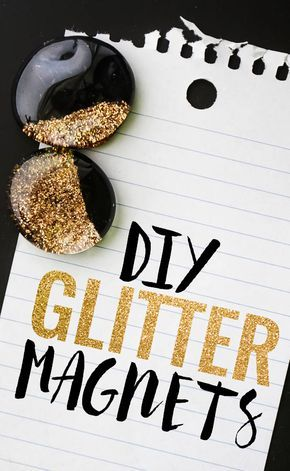 DIY Glitter Magnets - these were so easy and quick!  I want to make a zillion of them!