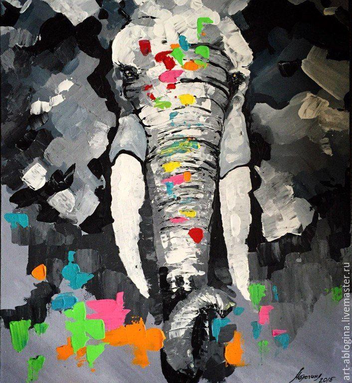 Купить Слон - темно-серый, акрил, мастихин, слон, серый, графит, монохром…