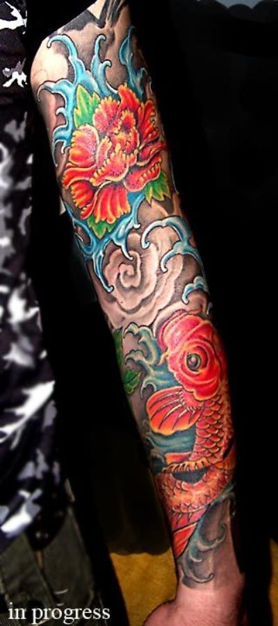 Tattoo sleeve an amazing japanese koi fish tattoo sleeve for Amazing koi fish