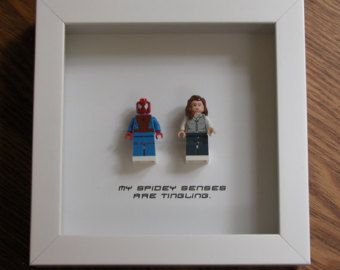 Spiderman Wall Art - Superhero Spiderman & Mary Jane Watson - Couple Wedding GIft - LEGO Minifigure Display - Wood Display Frame - LEGO Art