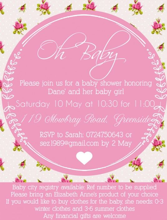 Pink baby shower invitation design by Very Cherry Design Studio