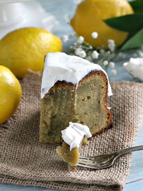 Avocado Ricotta Olive Oil Cake with fresh lemon zest and lemon juice, topped with Vanilla Bean Lemon Cream Cheese Frosting.