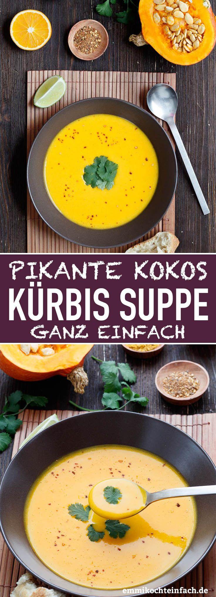 Pikante Kürbis Kokos Suppe