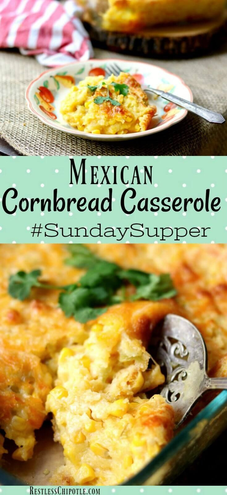 Quick and easy, this Mexican cornbread casserole recipe is a Southern tradition during the holidays. Now updated with Southwestern flavors! Make ahead recipe. #sundaysupper #sidedishes #holidayrecipes via @Marye at Restless Chipotle