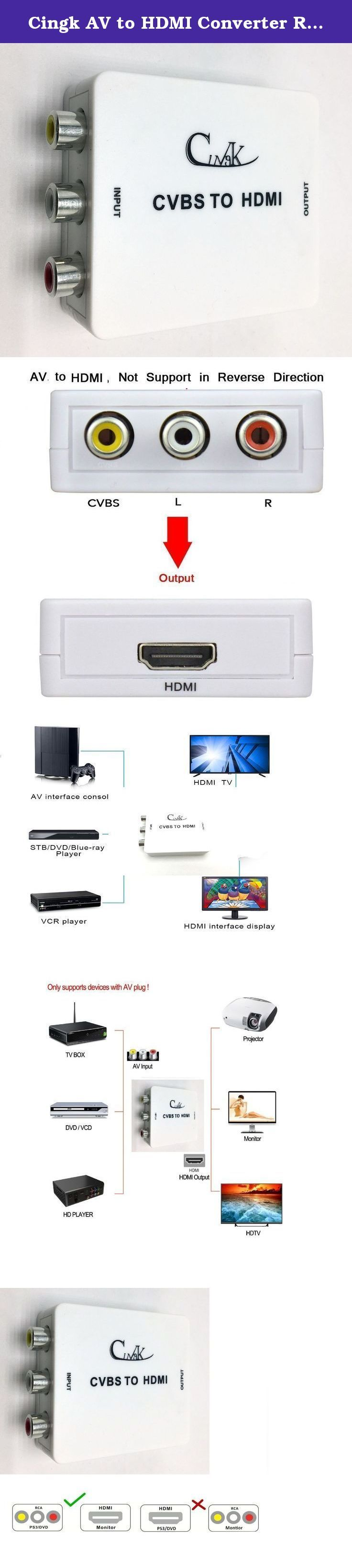 Cingk AV to HDMI Converter RCA Composite CVBS AV to HDMI Video Audio Converter Adapter, Support 1080P with USB Charge Cable for TV/PC/PS3/Blue-Ray DVD(AV2HDMI Converter), White. Introduction: Achieve 1080P HD video experience from a large screen ! RCA Composite CVBS / AV to HDMI converter (PLUG AND PLAY) is a video signal to HDMI output converter with either 720p or 1080p TVs, and the output mode is easily selectable with a switch on the device. This converter's advanced processing…