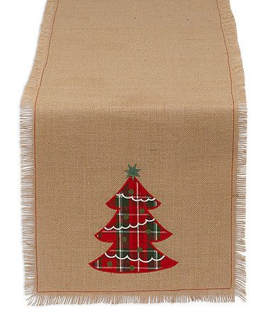 Loving this Tree Embroidered Burlap Table Runner on #zulily! #zulilyfinds
